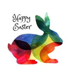 easter card with watercolor rabbit vector image