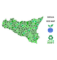 Ecology green mosaic sicilia map vector