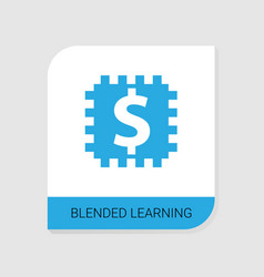 Editable filled blended learning icon from e vector