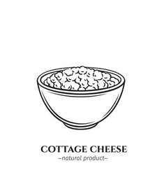 Engraving cottage cheese icon vector
