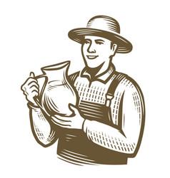 farmer with jug milk farming sketch vintage vector image