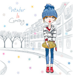 fashion girl in winter clothes in old town vector image