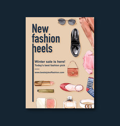 Fashion poster design with bag outfit shoes vector