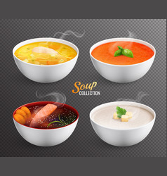 Four bowls with hot soup on transparent vector