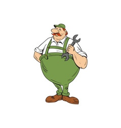 German Repairman Spanner Standing Cartoon vector