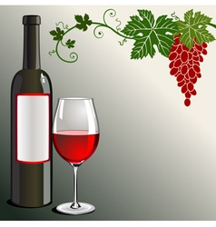 glass of red wine with bottle vector image vector image