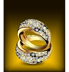 Gold rings with some diamonds vector image
