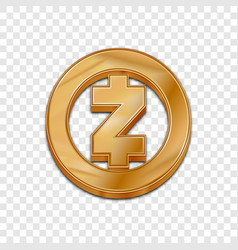 Golden zcash coin trendy 3d style icon vector