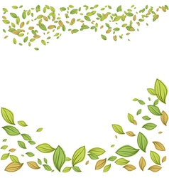 Green leaves frame for spring design vector