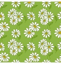 Green seamless daisy pattern vector