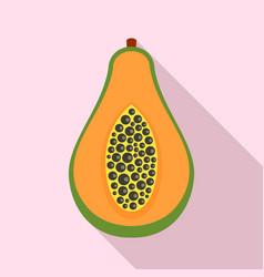 half of papaya icon flat style vector image