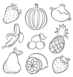 Hand draw of fruit doodle style vector