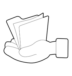 Hand holding file folder icon isometric 3d style vector