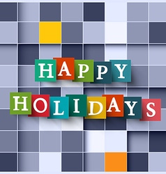 Happy holidays paper cubes - square background vector