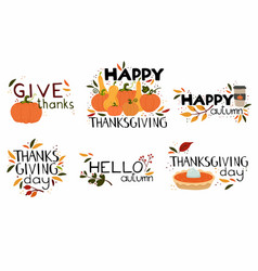 Happy thanksgiving day lettering collection vector