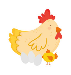 hen chicken and eggs farm animal isolated icon on vector image