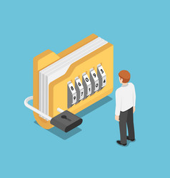 isometric businessman standing with folder vector image