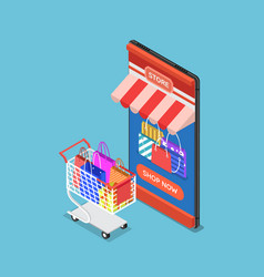 isometric online store on smartphone with cart vector image