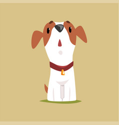 Jack russell puppy character looking up cute vector