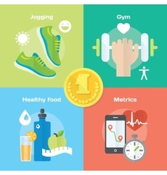 Jogging and running winner concept flat icons of vector image