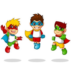 Kid Super Heroes Flying Pose vector