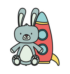 kids toy rabbit furry and plastic rocket toys vector image