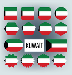 kuwait flag collection figure icons set vector image