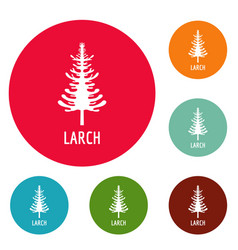 Larch tree icons circle set vector