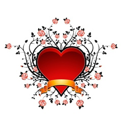 lovely red heart with many roses vector image