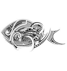 Maori style fish tattoo vector