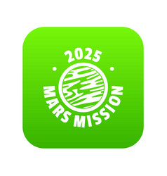 mars mission icon green vector image