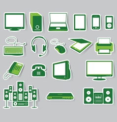 Media icon set green color vector