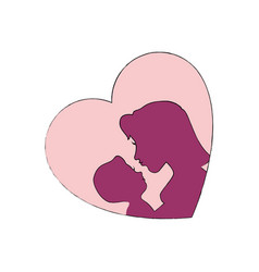 mom with baby silhouette vector image