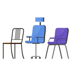 Office chairs and armchairs set for workers vector