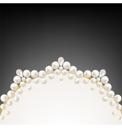 Pearl jewelry border on black background vector