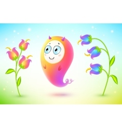 Pink cute monster with flowers vector image