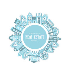 real estate agency banner template with cute hand vector image