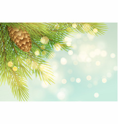 realistic spruce branch with pinecone vector image