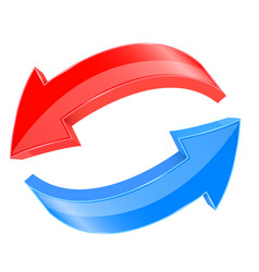 Red and blue 3d arrows in circular motion vector