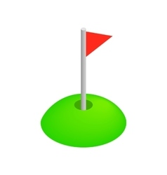 Red golf flag isometric 3d icon vector image