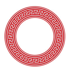 Round ornamental red colored frame isolated on vector