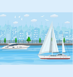 sailboat with white canvas and modern yacht vector image