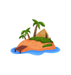 sandy tropical island with palm tree and straw vector image