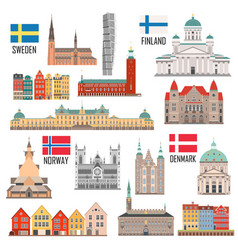 scandinavian set landmark icons vector image