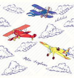 Seaml colors airplanes-02 vector