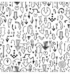 seamless arrow pattern - doodle style hand vector image