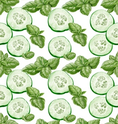 Seamless background from slices of fresh cucumber vector