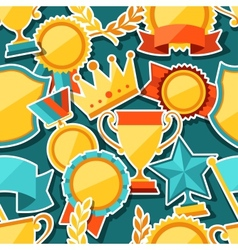 Seamless pattern with trophy and awards stickers vector image