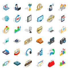 Service operator icons set isometric style vector