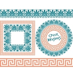 set 1 brushes greek meander patterns vector image